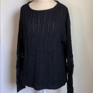 Sundance open knit sweater with lace detail sleeve
